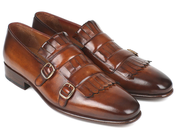 Paul Parkman Men's Brown Kiltie Double Monkstraps (ID#ST37VF)