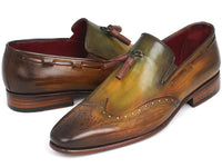Paul Parkman Men's Wingtip Tassel Loafers Green (ID#WL34-GRN)