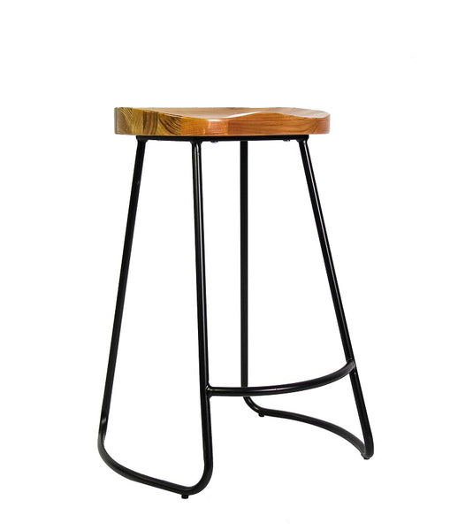 Retro Barstool  - Wood Seat Metal frame