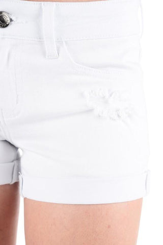 Distressed Denim Shorts - White - Clemmie and Jo