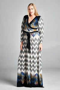 Black Chevron Wrap Dress - Clemmie and Jo
