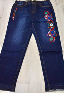 Dark Wash Floral Embroidery Boyfriend Jeans
