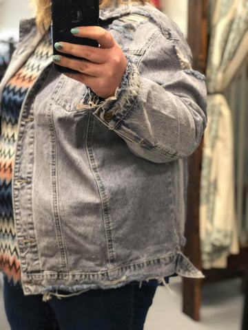 Distressed Oversized Denim Jacket - Clemmie and Jo