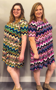 Rachel Chevron Dress - Clemmie and Jo