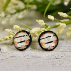 Black Floral & Stripe Photo Glass Earrings - Clemmie and Jo