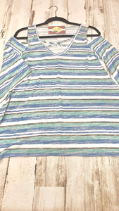Blue Stripe Panel Design Cold Shoulder Tunic - Clemmie and Jo