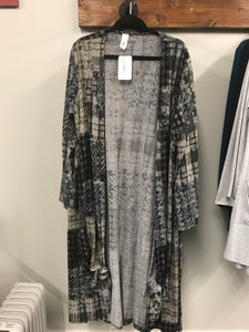 Long Sleeve Grey and Black Knit Duster - Clemmie and Jo