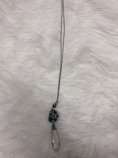 Gunmetal Crystal and Teardrop Necklace - Clemmie and Jo