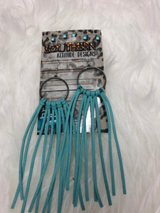 Aqua Fringe Earrings - Clemmie and Jo