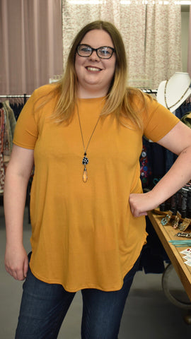 Ash Mustard Short Sleeve Top - Clemmie and Jo