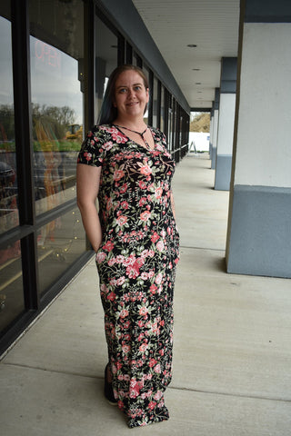 Black Floral Pocket Maxi Dress - Clemmie and Jo