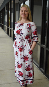 Ivory Floral Pocketed Off Shoulder Maxi Dress - Clemmie and Jo