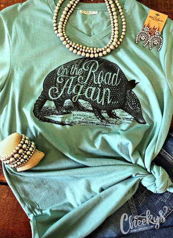 On The Road Again Blue V-Neck Unisex Tee - Clemmie and Jo
