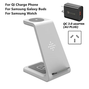 QI 10W Fast Charge 3 in 1 Wireless Charger Station