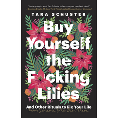 Cover of Buy Yourself the Fucking Lilies - black background with bright pink lilies and the title in white font
