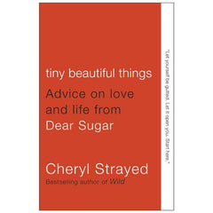 Cover of Tiny Beautiful Things - red background with white text