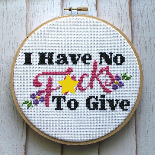 'I Have No Fucks' Cross Stitch Kit-Spot Colors-Crying Out Loud
