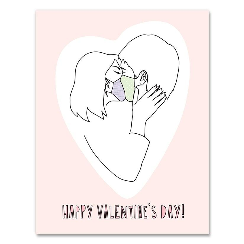 'Valentines' Day Masked Kiss' Card