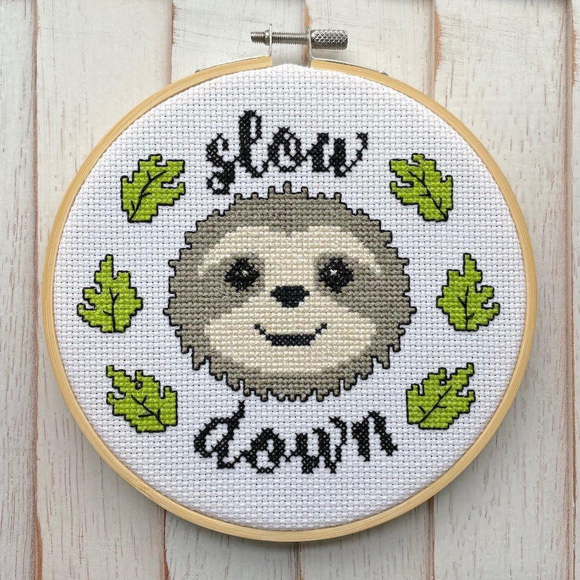 'Slow Down' Cross Stitch Kit-Spot Colors-Crying Out Loud