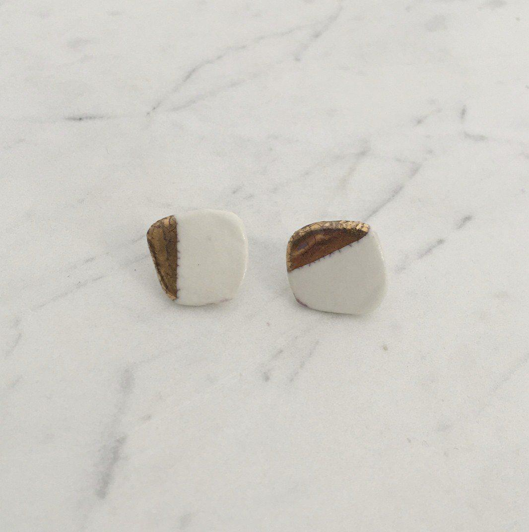 Organic  Post Earring with White Shiny Gold