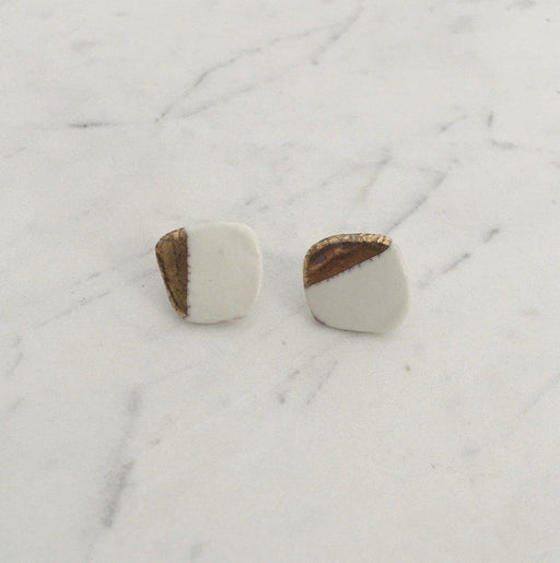 Organic Post Earring with White Shiny Gold-Cylinder Studio-Crying Out Loud