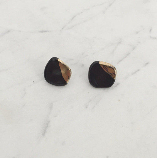 Organic Post Earring with Black Shiny Gold