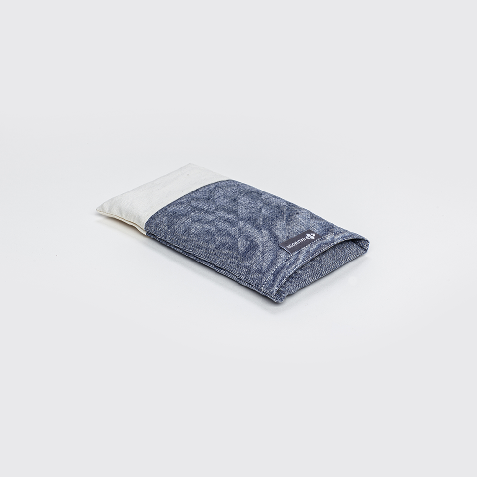 Linen Eye Pillow with Lavender - Surf/Ivory