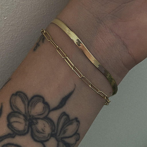 The Herringbone Chain Bracelet - Gold-Zephyr Grey-Crying Out Loud