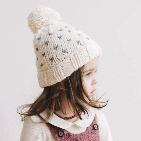 Baby/Kids Hand Knit Beanie - Tiny Hearts-Blueberry Hill-M (2 - 8 yrs)-Crying Out Loud