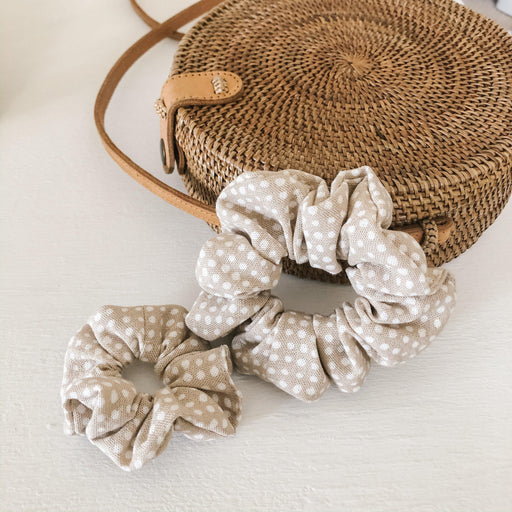 Linen Scrunchie - Speckled Taupe