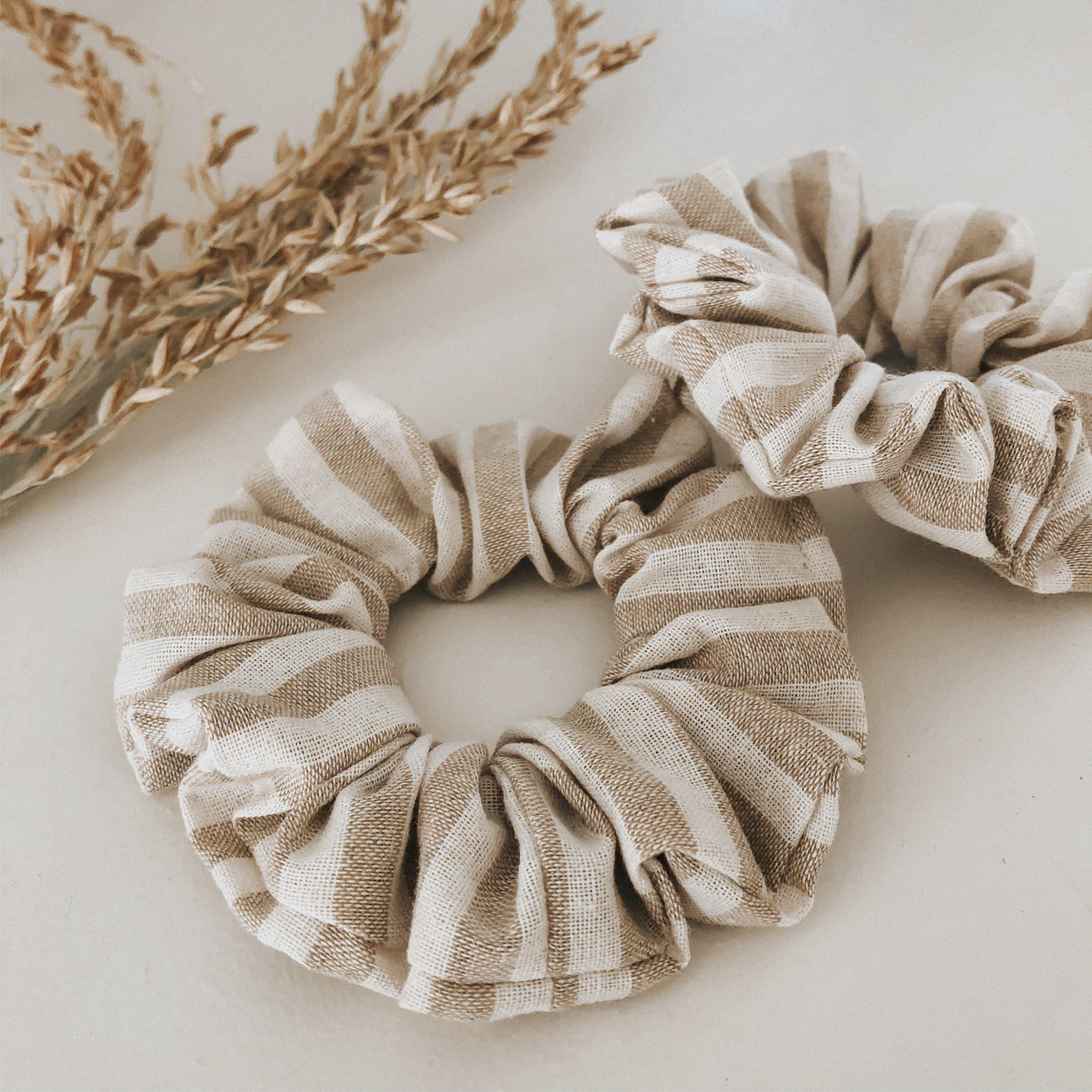 Linen Scrunchie - Caramel Stripe-Life with Littles Co-Caramel Stripe-Crying Out Loud