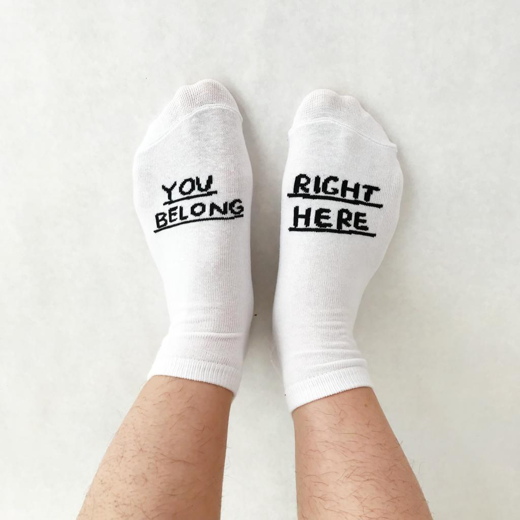You Belong Right Here Socks-People I've Loved-white-Crying Out Loud