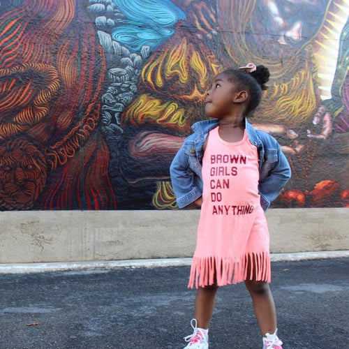 Black/Brown Girls Can Do Anything Kids Fringe Dress