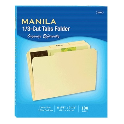 1/3 Cut Manilla File Folders