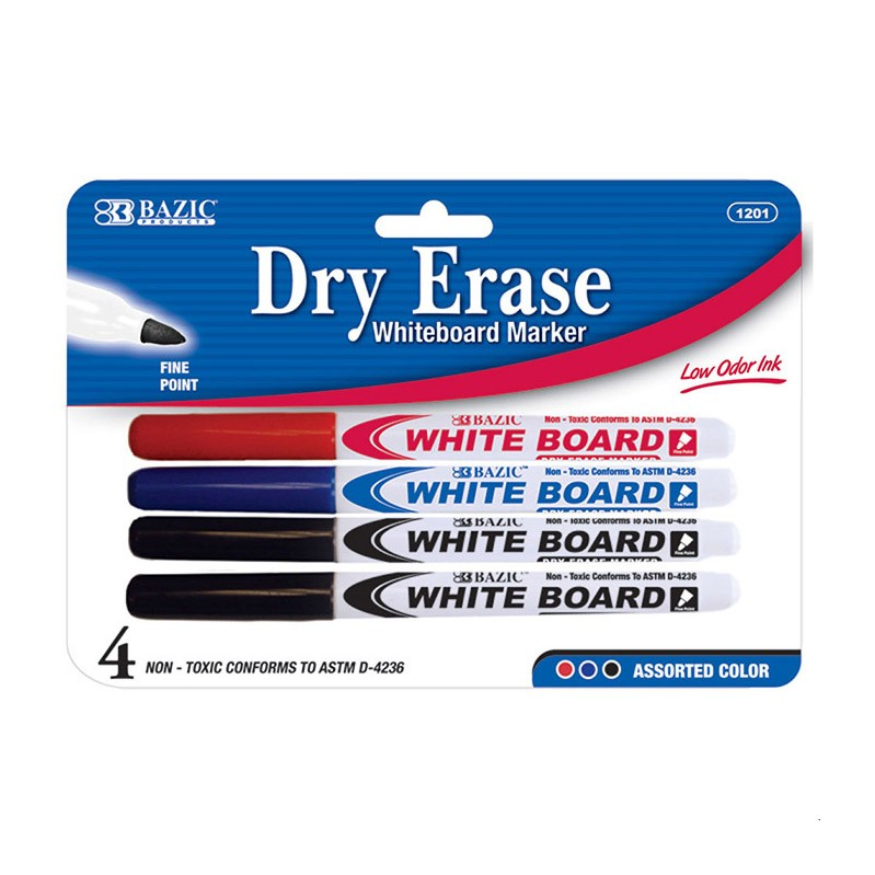 Assorted Color Fine Tip Dry Erase Markers (4-pack)