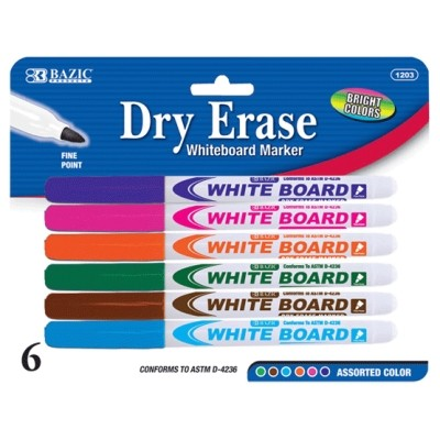 6 Color Dry Erase Markers