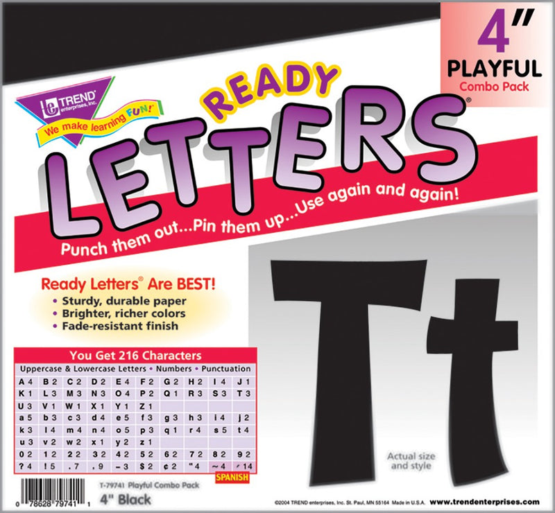 "Black 4"" Playful Uppercase/Lowercase Letters"