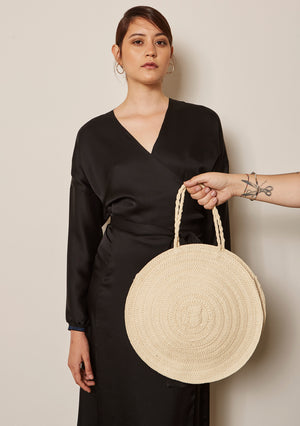 BLACK SILK WRAP DETAIL DRESS