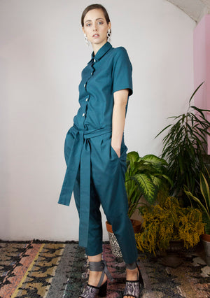 GREEN COTTON JUMPSUIT