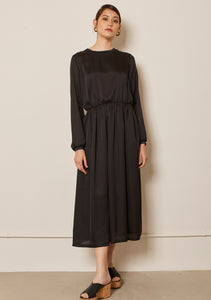 BLACK SILK MEDLEY DRESS
