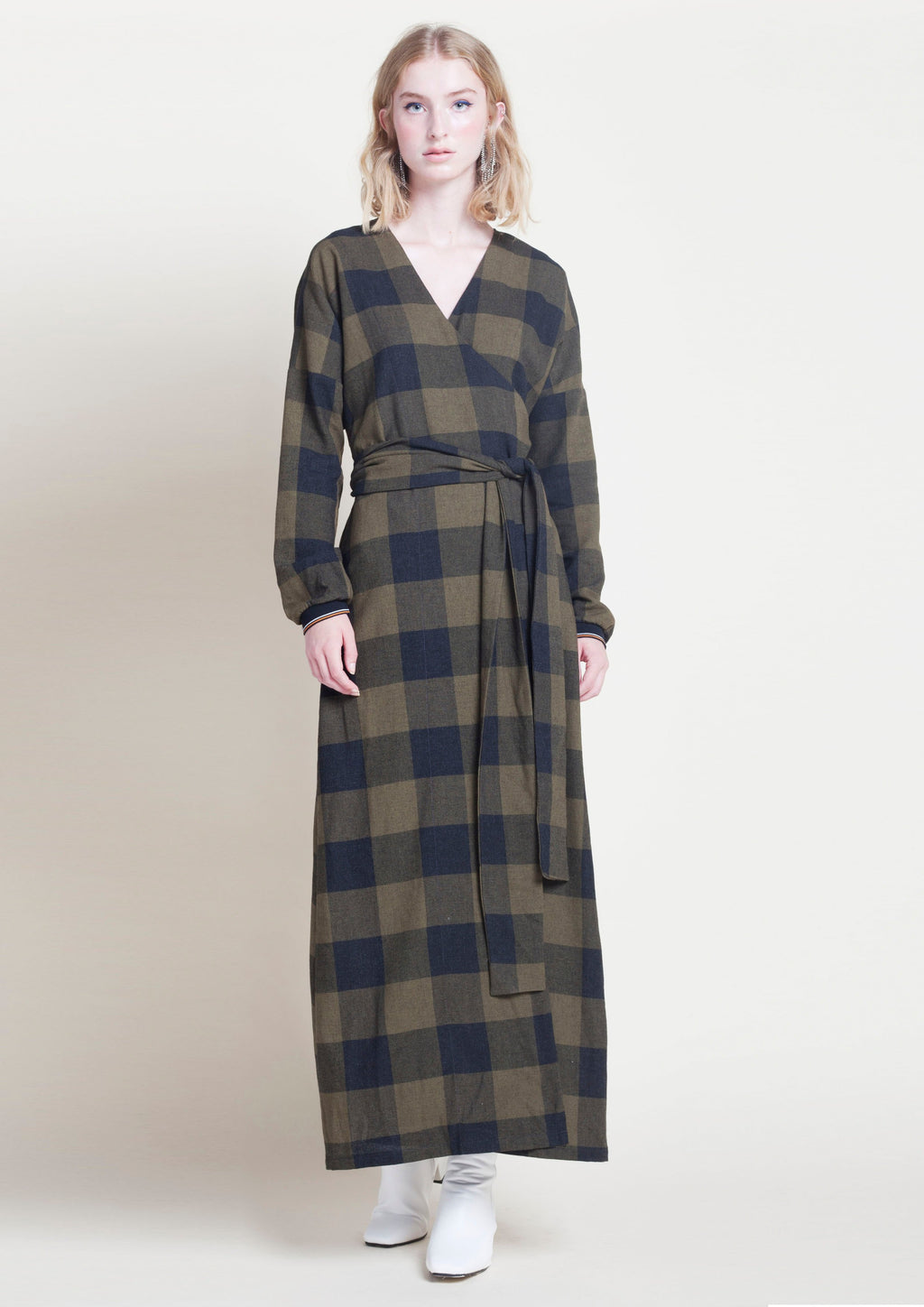 MAXI CHECK PRINT WRAP DETAIL DRESS