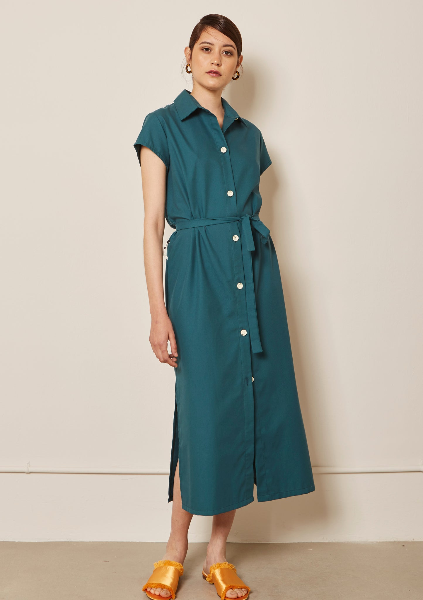 GREEN COTTON BELTED SHIRT DRESS