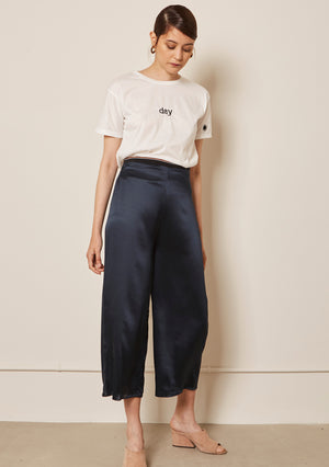 NAVY SILK TROUSERS