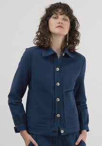 BLUE COTTON/WOOL JACKET