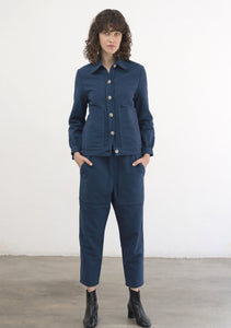BLUE COTTON/WOOL PANTS