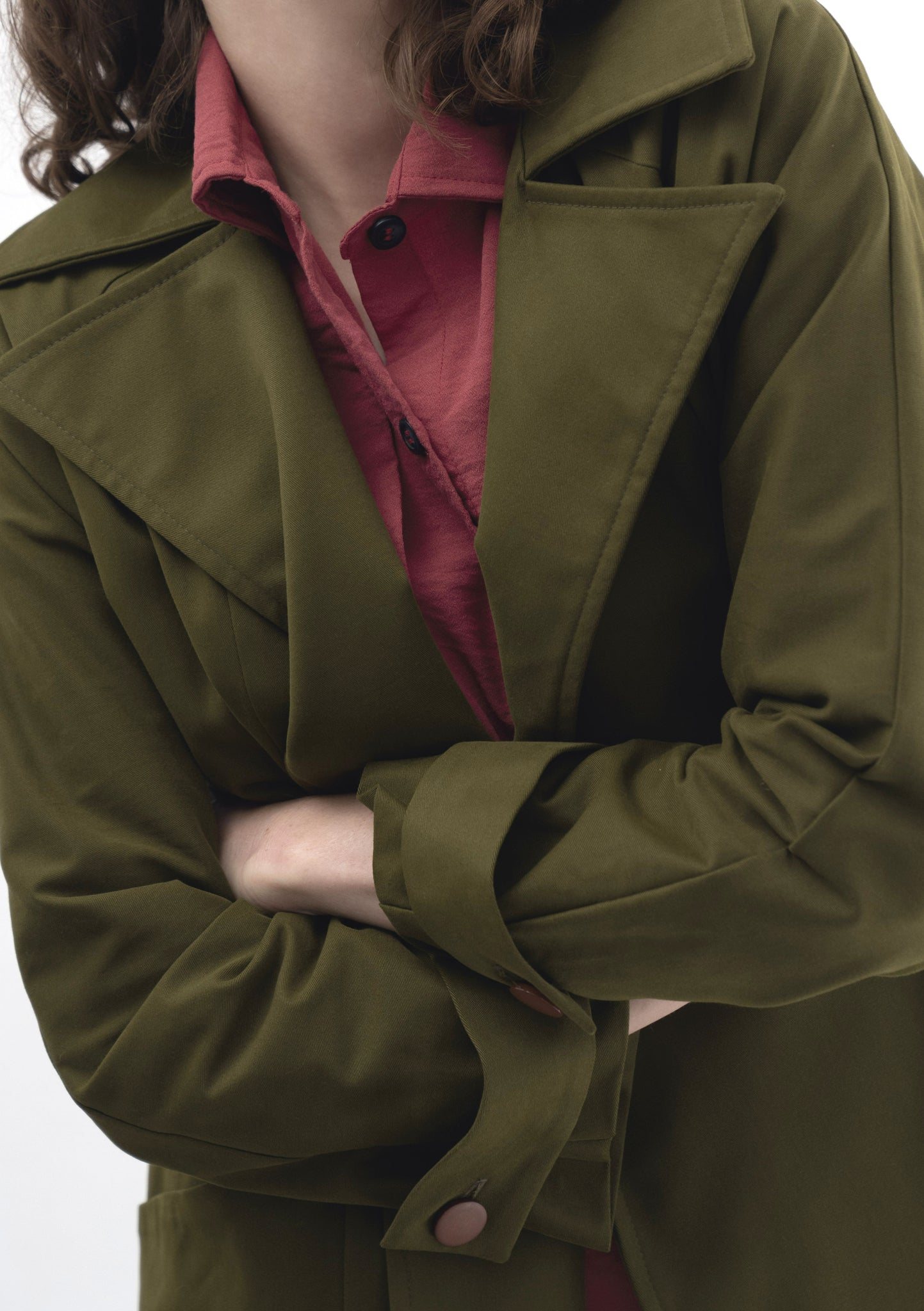 GREEN LIGHTWEIGHT TRENCH COAT