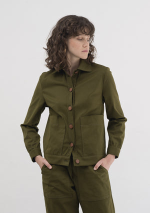 GREEN LIGHTWEIGHT COTTON JACKET