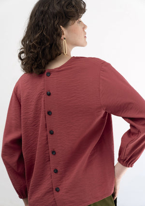 BURGUNDY BUTTON DETAIL BLOUSE
