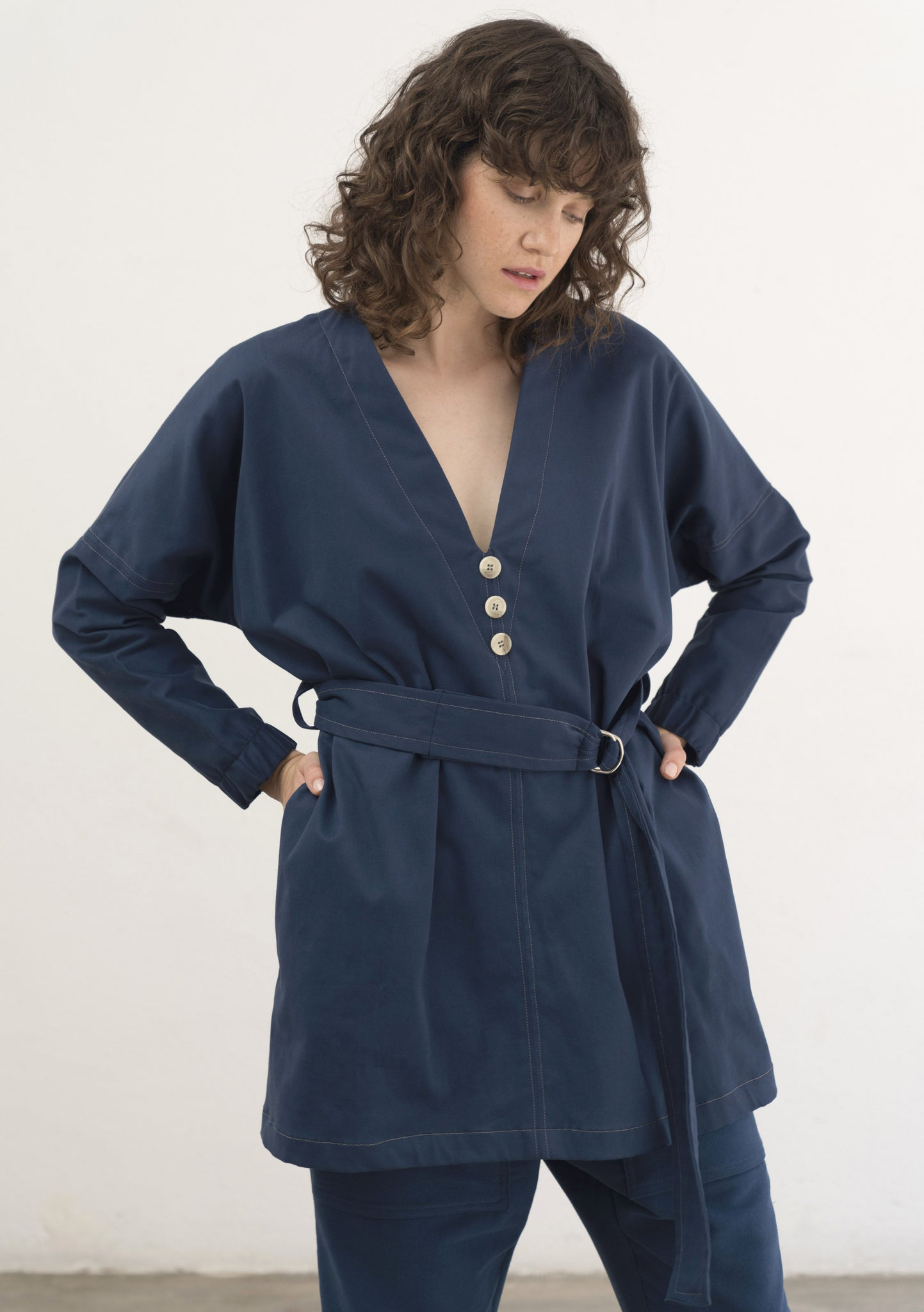 BLUE COTTON V NECK TUNIC