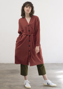 DARK RED CREPE LIGHTWEIGHT COAT